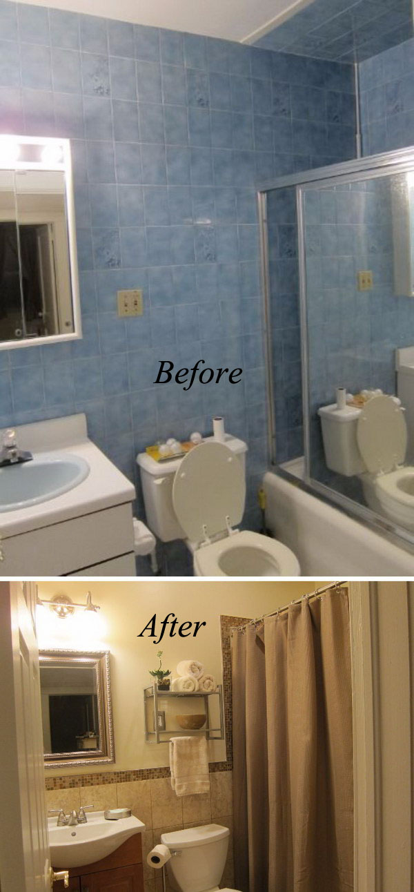 From Blue To Beige Bathroom Renovation.