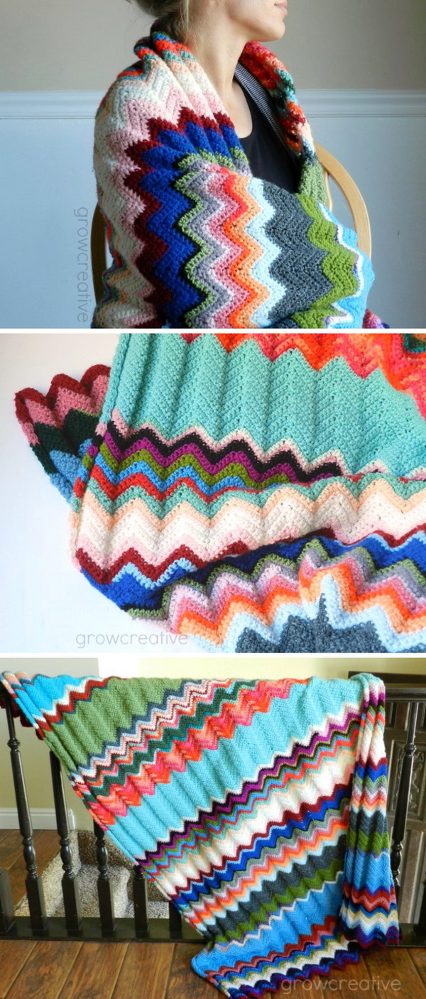 Cool easy crochet blankets with lots of tutorials and patterns simple chevron throw bankloansurffo Images