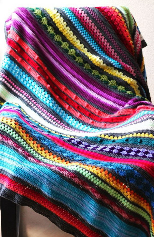 Free Crochet Pattern Rainbow Blanket : Cool & Easy Crochet Blankets With Lots of Tutorials and ...