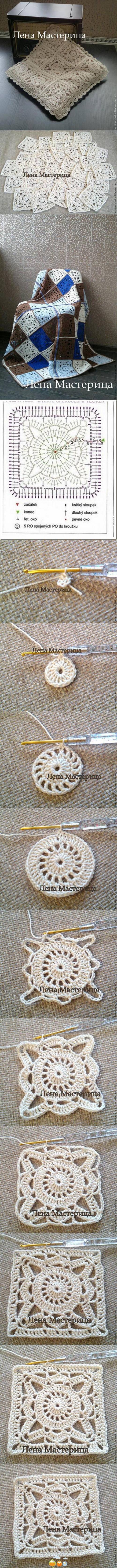 Crochet Lace Square Motif Blanket.