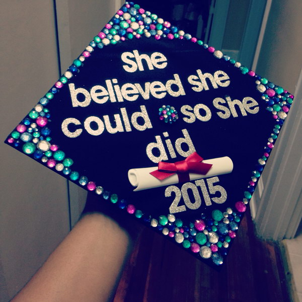 Multi Colored Rhinestone Graduation Cap.