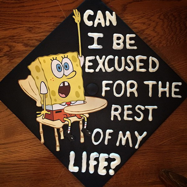SpongeBob Graduation Cap With Words 'Can I Be Excused For The Rest Of My Life'.