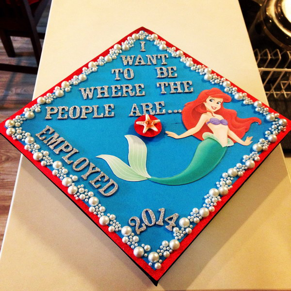 Beautiful Disney Princess Graduation Cap.
