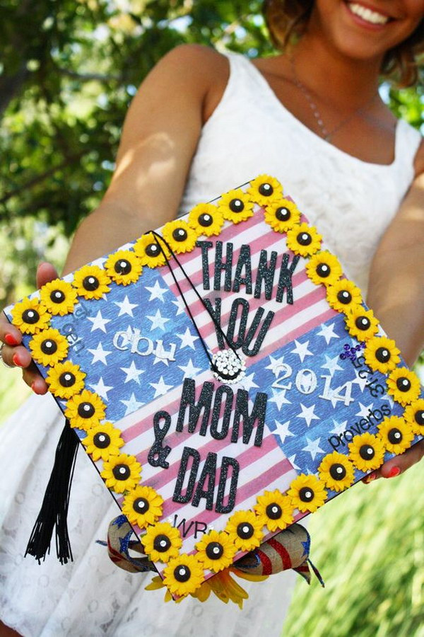 American flag and Sunflowers Graduation cap.
