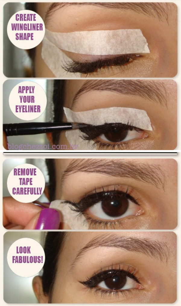 Create Winged Eyeliner with Tape.