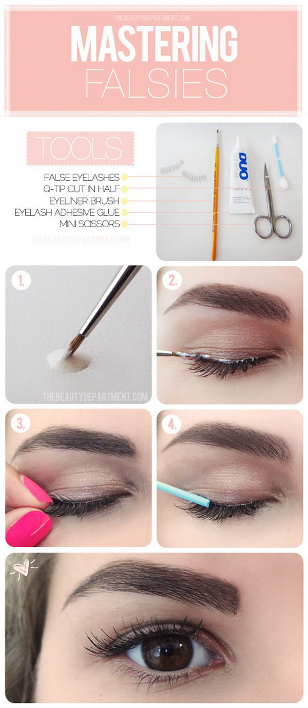 Makeup Hack for Doing False Eyelashes: Add glue directly on the eyelid, instead of the falsies.
