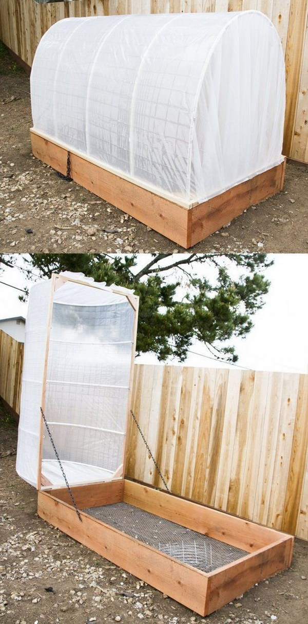 DIY Removablea Greenhouse Covered Raised Garden Bed.