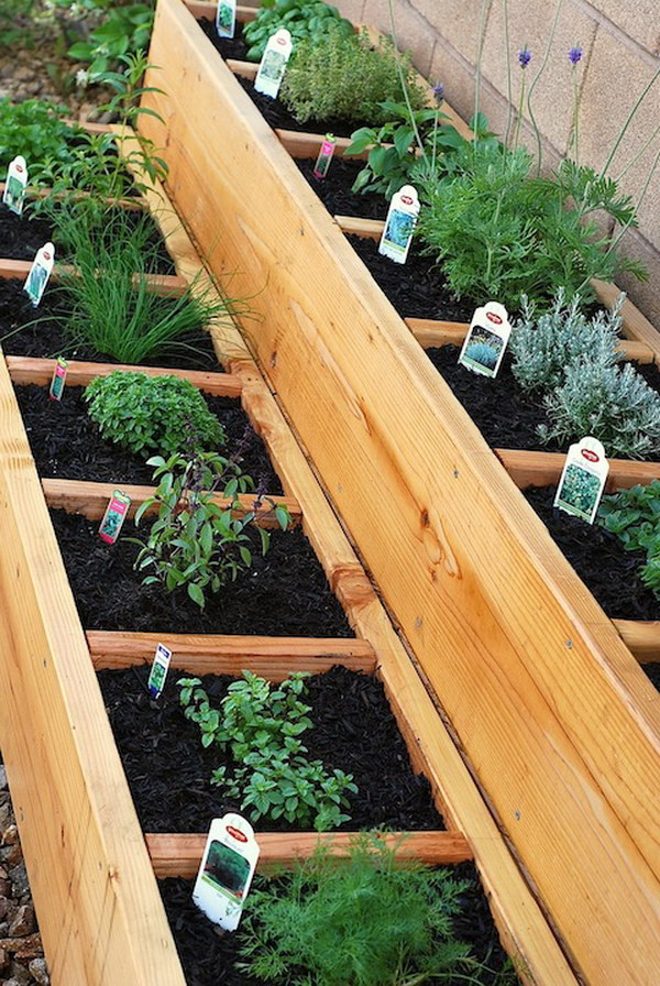 Divided Raised Herb Garden Bed - 30+ Raised Garden Bed Ideas - Hative