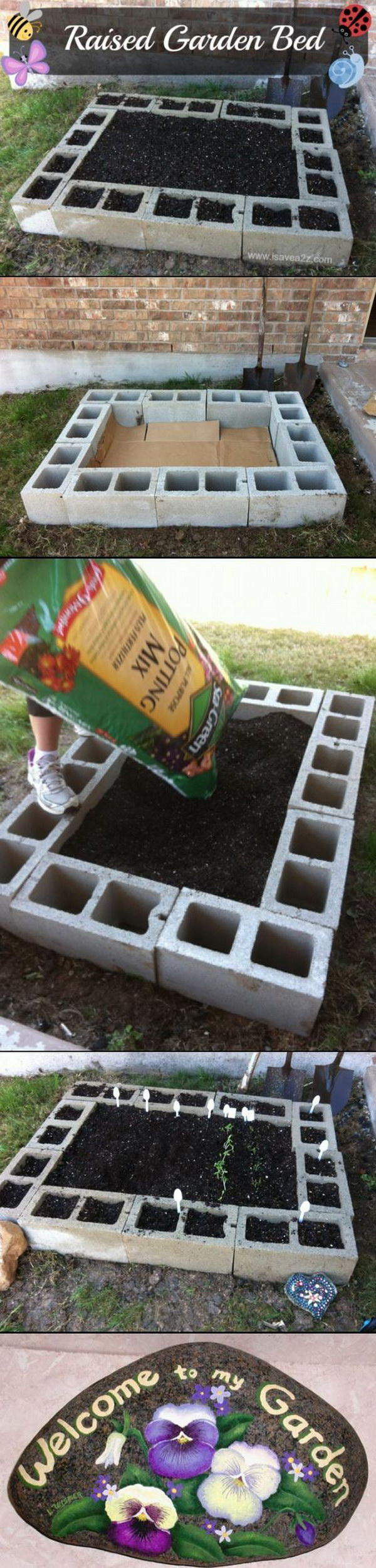 DIY Cinder Block Raised Garden Bed.