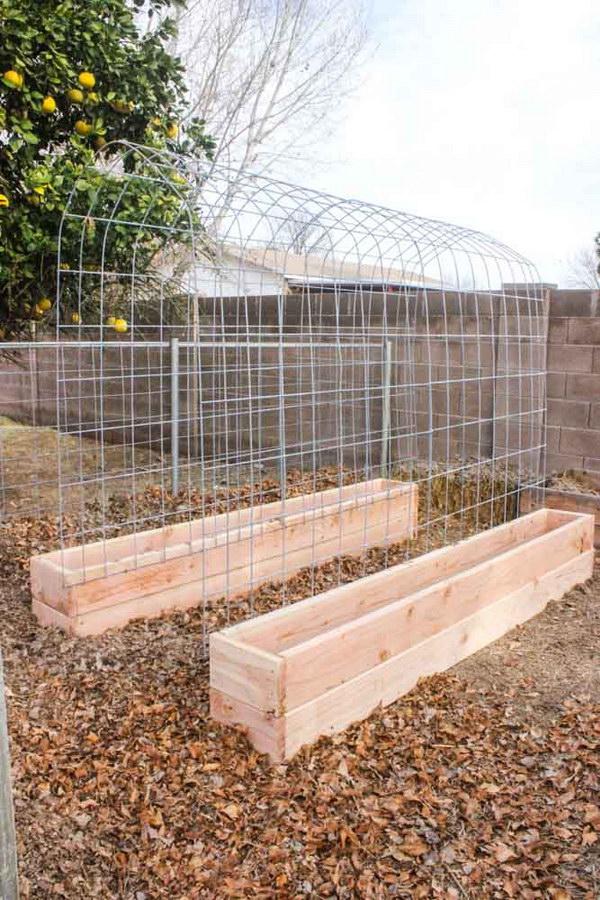 Garden Bed Ideas brick lined beds Diy Raised Garden Bed With Trellis