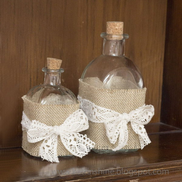 Burlap and Lace Decorated Shabby Chic Bottles