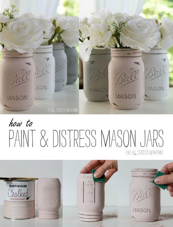Pastel Color Chalk Painted Mason Jars