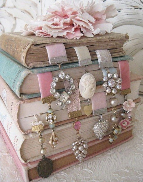 Shabby Chic Ribbon Bookmarks Made Out Of Old Earrings