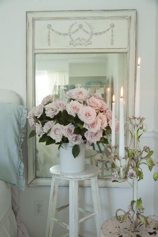 Shabby Chic Decoration With Flowers And Mirrors