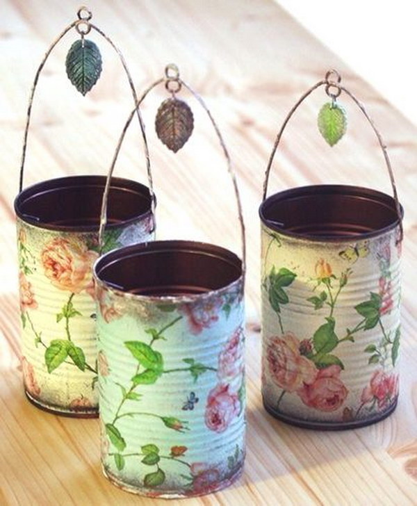 DIY Decoupaged Tin Can Holders
