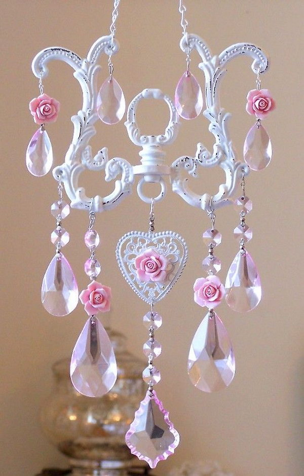 DIY Sun Catcher Made From Chandelier Parts And Porcelain Roses
