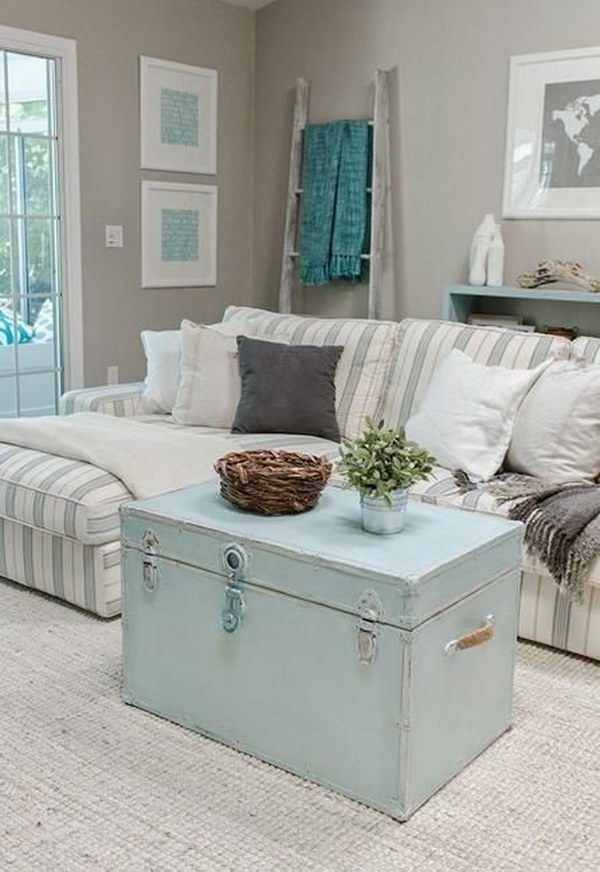 Pastel Blue Trunk Coffee Table