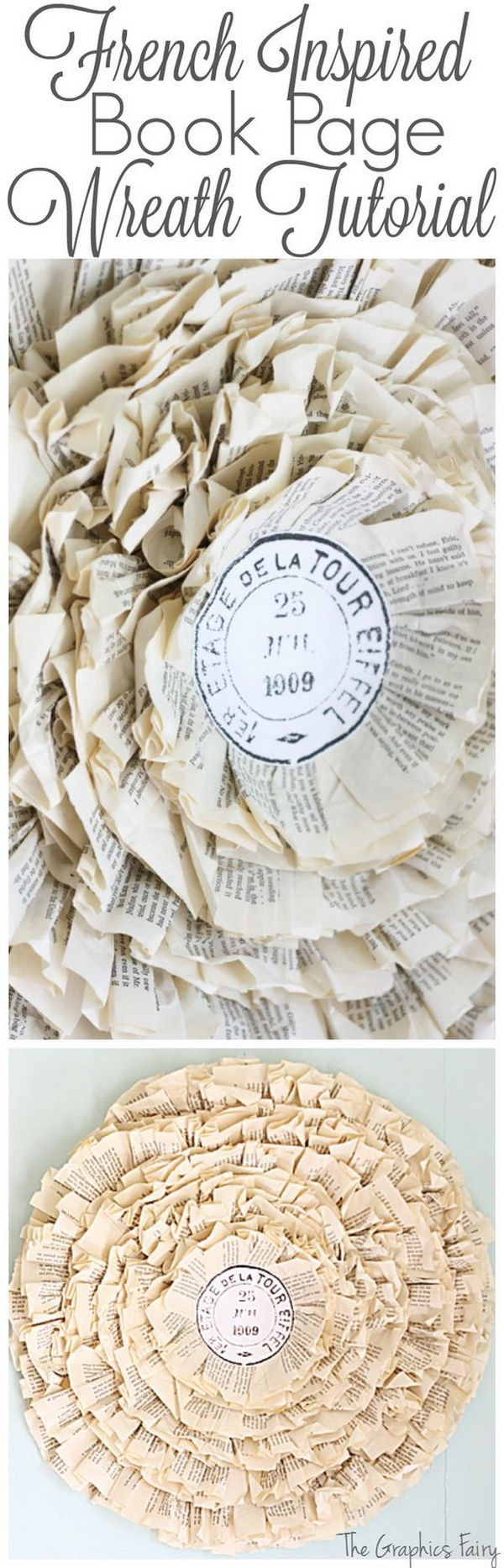 Paris Postmark Book Page Wreath