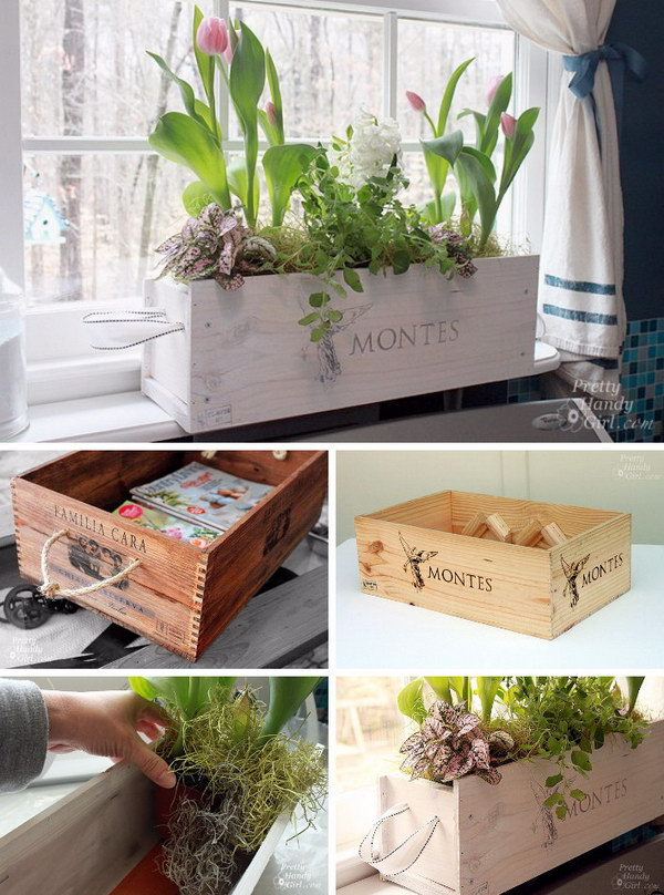 White washed Window Box from a Wine Crate.