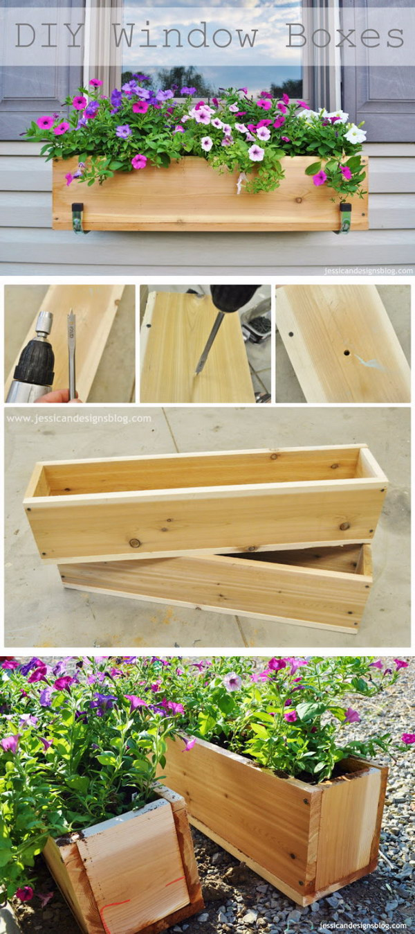 DIY Wooden Window Flower Boxes.