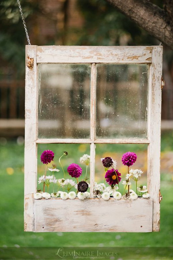 Suspended Shabby Chic Window Pane Flower Box.