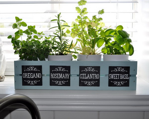 Window Box Planter with Chalkboard Labels.