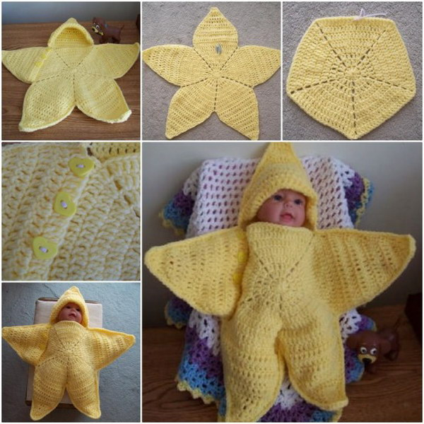 Crochet Star Hooded Baby Blanket Free Pattern.