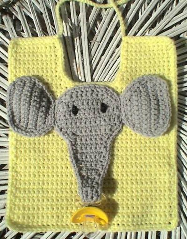 Elephant Pacifier Bib.