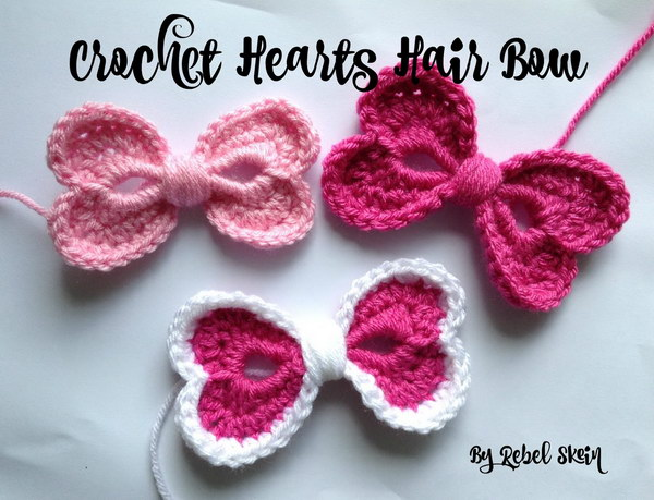 Crochet Hearts Hair Bow Free Pattern.