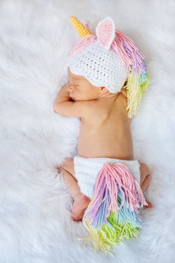 Unicorn Hat and Diaper Cover Newborn.