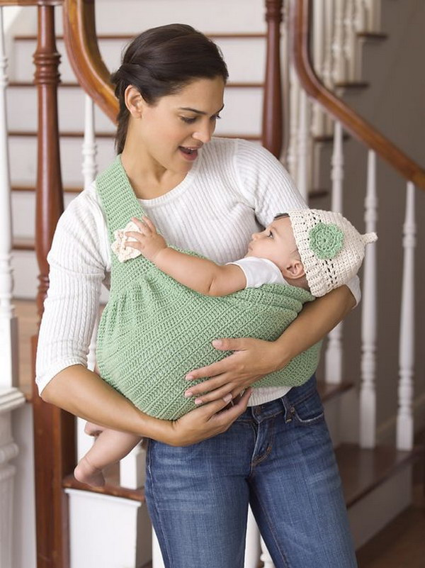 Mother's Love Baby Sling And Beanie By Michele Wilcox   Free Crochet Pattern.