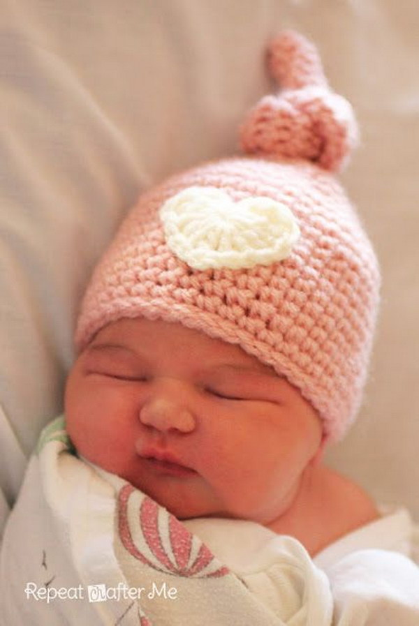 Crochet Newborn Knot Hat Pattern .