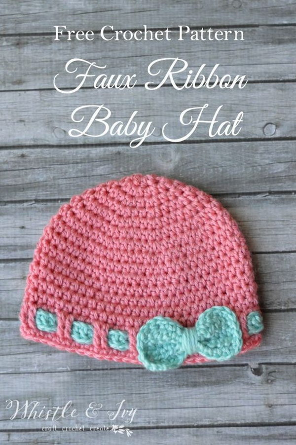 Free Crochet Pattern   Faux Ribbon Baby Hat.