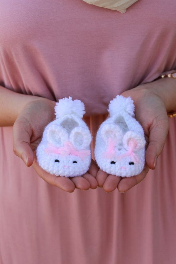 Baby Bunny Slippers With Handmade Crochet.