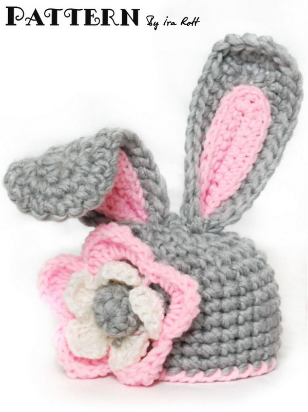 ab2f381b65197 Crochet Bunny Hat With Flower for Little Girl With PDF Pattern for 5 Sizes