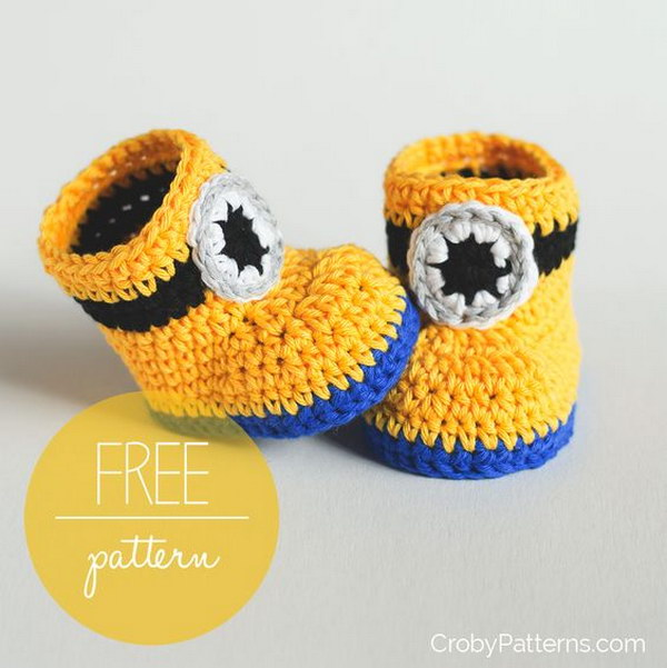 Free Crochet Pattern For Baby Minion Slippers : Cool Crochet Patterns & Ideas For Babies - Hative