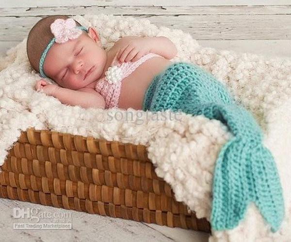 Crochet Mermaid Tail Set .