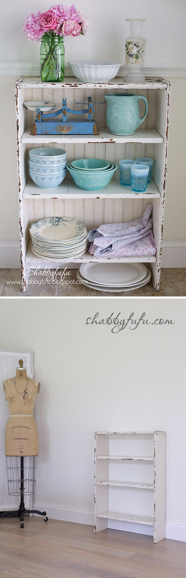 Diy shabby chic furniture - Diy Beadboard Cabinet From A Bookcase