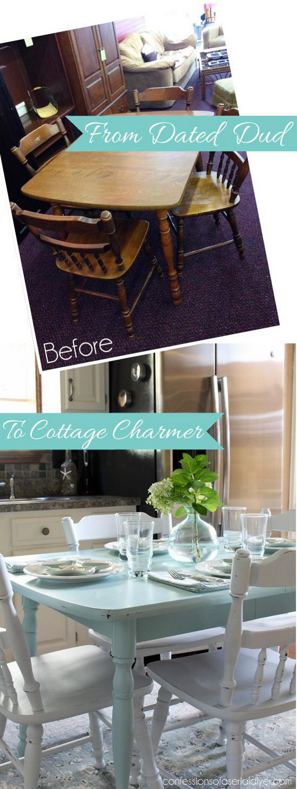Yellow shabby chic furniture - Shabby Chic Makeover How To Paint A Laminate Kitchen Table
