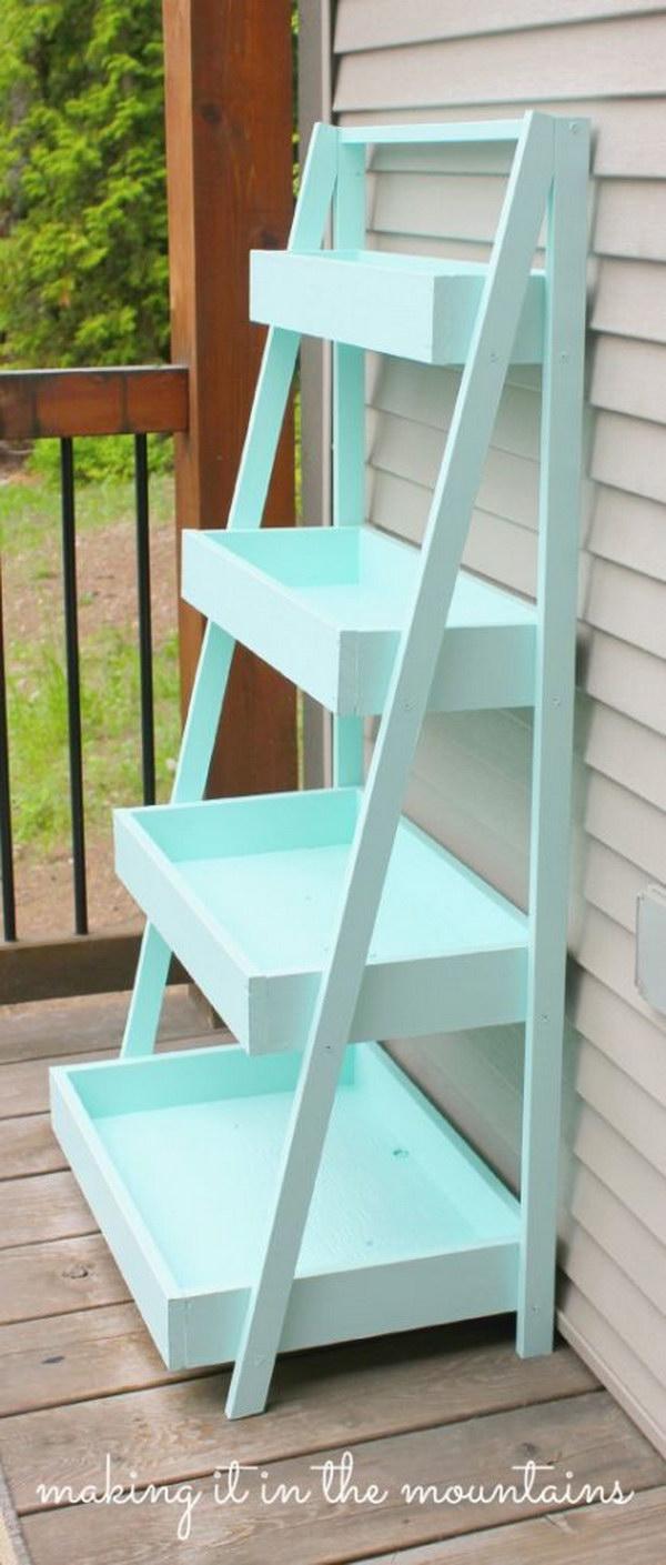 Diy shabby chic furniture - Diy Shabby Chic Ladder Shelf