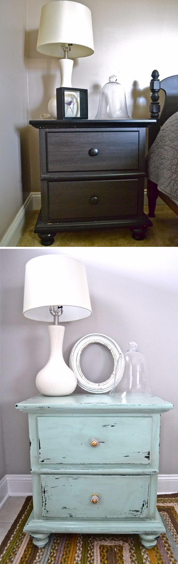 Diy shabby chic furniture - Shabby Chic Nightstand Makeover