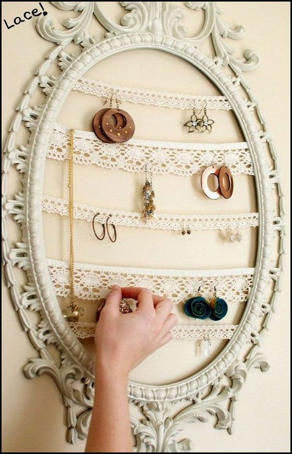 DIY Shabby Chic Jewelry Organizer - Fantistic DIY Shabby Chic Furniture Ideas & Tutorials - Hative