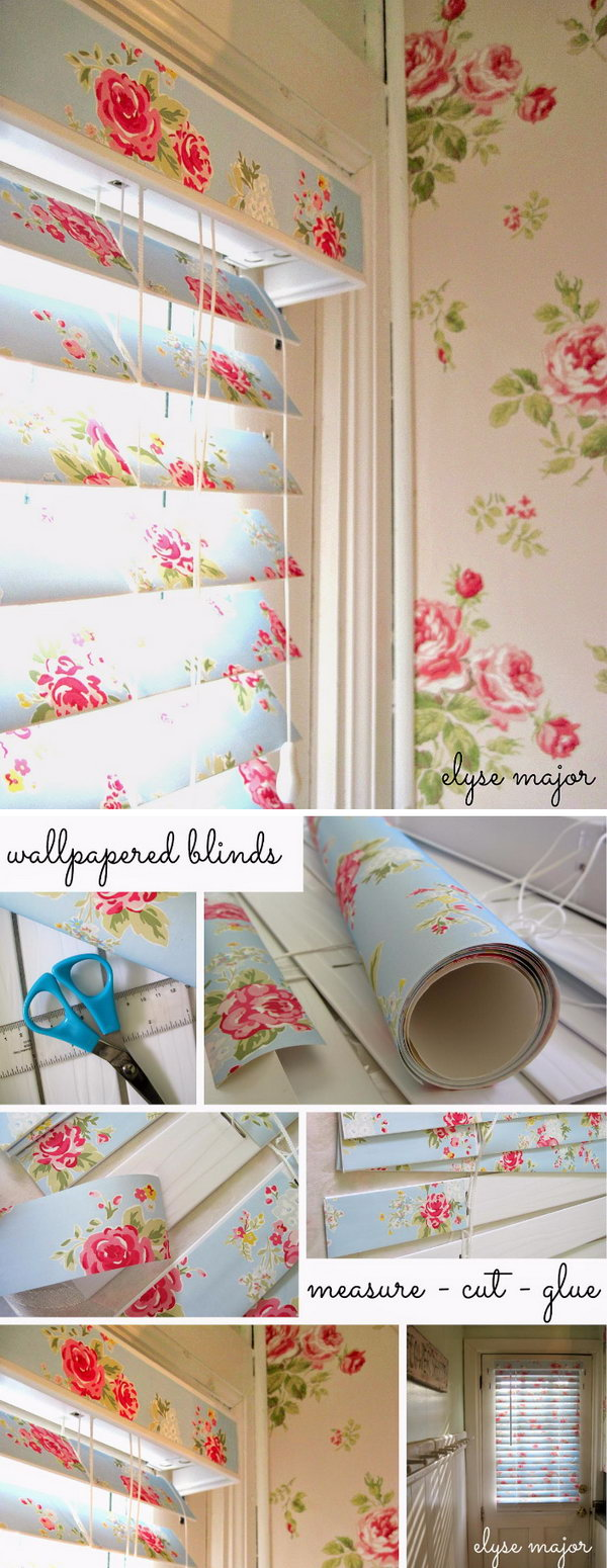 Diy shabby chic furniture - Shabby Chic Wallpaper Covered Blinds