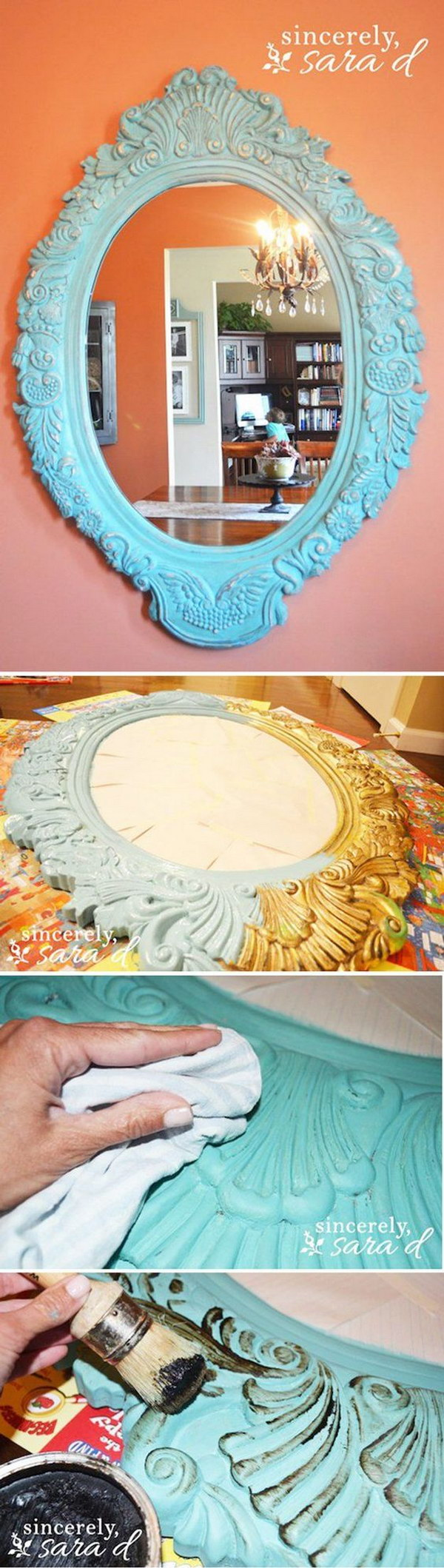 Yellow shabby chic furniture - Diy Chalk Paint Distressed Mirror Tutorial