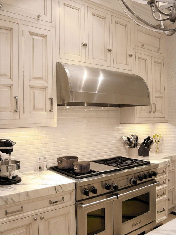 Retro Cream White Kitchen Set With Marble Countertop Plus Ceramic Subway Tiles Backsplash