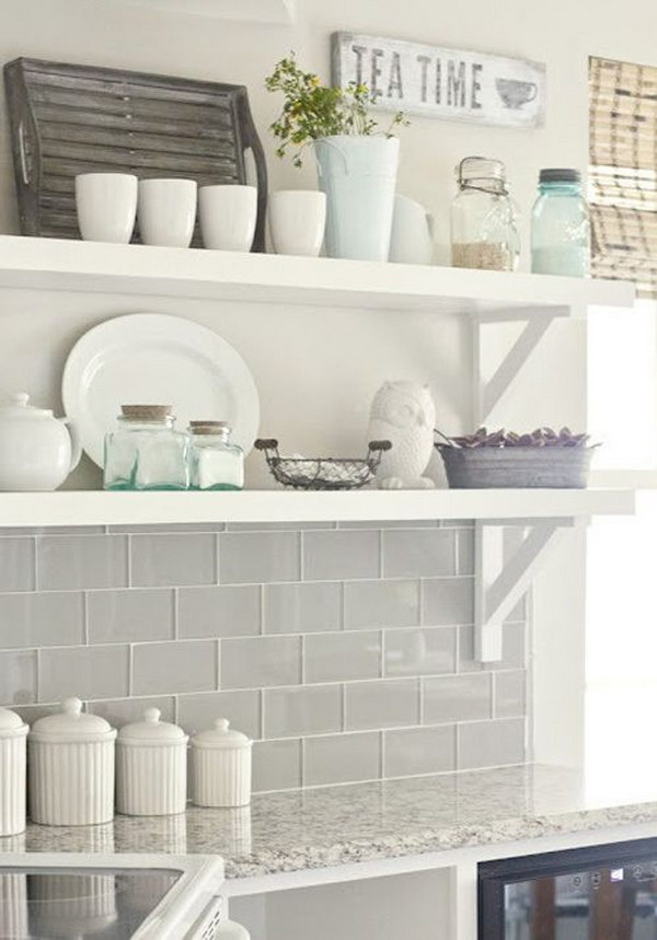 Gray Glass Subway Tile Backsplash with Openshelving