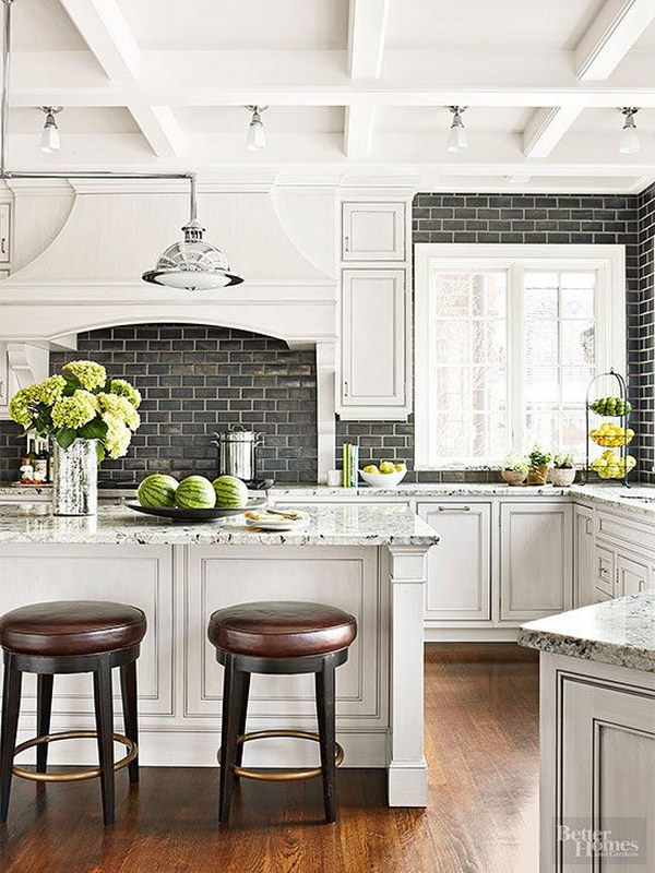 Subway Tile Backsplash Ideas For The Kitchen Part - 31: White Kitchen With A Black Subway Tile Backsplash