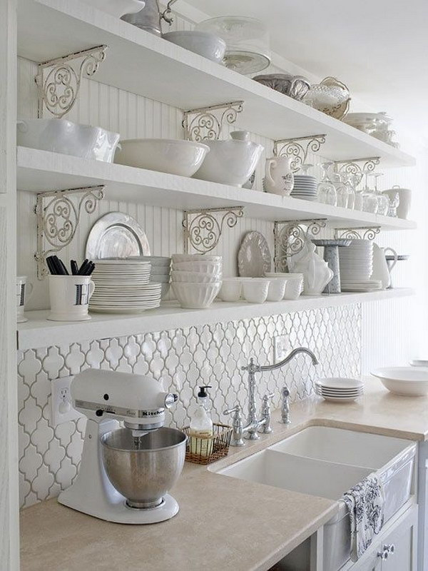 white kitchen backsplash ideas. Delighful Backsplash White Kitchen With Moroccan Tile Back Splash Beneath The Openshelves To Backsplash Ideas S