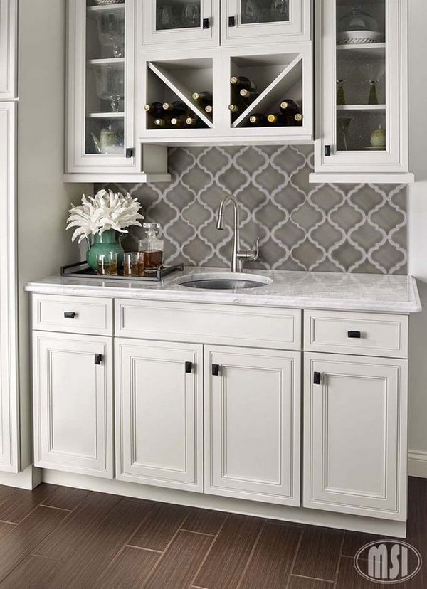 Arabesque White Carrara Kitchen Backsplash With Dark Grey Counter