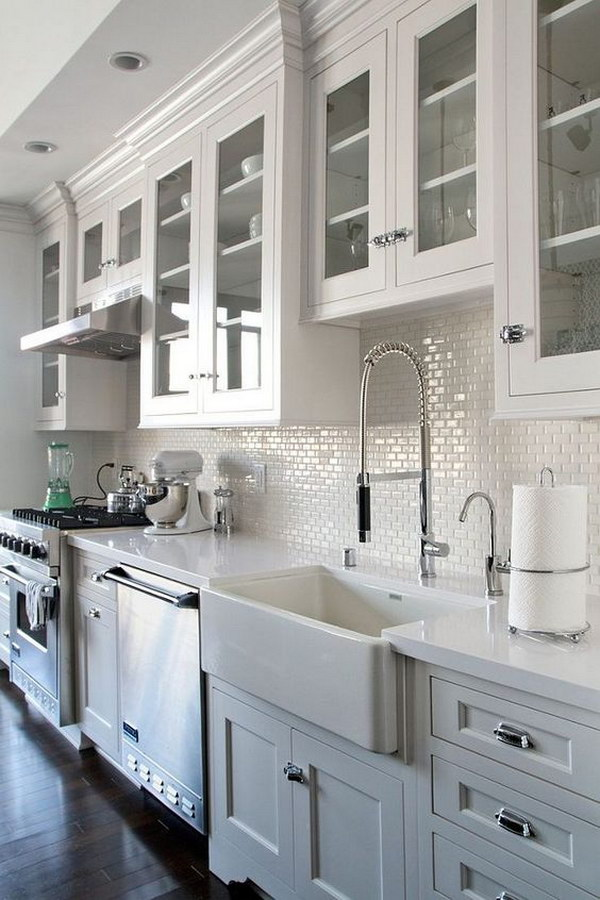 All White Kitchen with Mini Subway Tile Backsplash : kitchen-with-subway-tile - designwebi.com